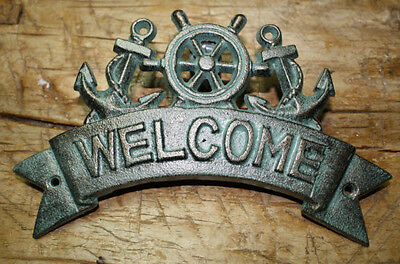 Decorative Anchors (Cast Iron ANCHOR WELCOME Plaque Sign Nautical Wall Pool Home Decor SHIPSWHEEL)
