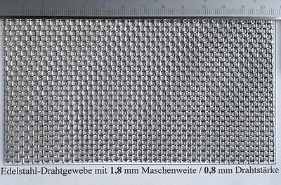 Edelstahl Drahtgeflecht mit 1,8mm Maschenweite, 0,8mm Drahtstärke ...