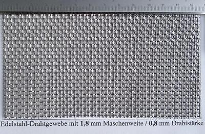 Drahtgitter Edelstahl mit 1,8mm Maschenweite, 0,8mm Drahtstärke, 500 mm x 500 mm