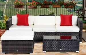 5 Piece Outdoor Rattan Conversation Patio Set
