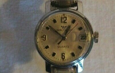 Waltham Quartz Watch Womens CL807-751 Shock Protected Silver Vintage Jewelry
