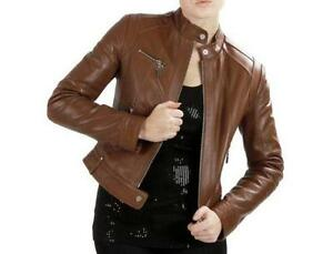 f7d711f7a84 Women s Brown Leather Bomber Jacket
