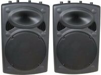 "2x QTX SOUND QR15 SPEAKER 15"" INCH 500W PASSIVE MOULDED PA LOUDSPEAKERS + 10M CABLE LEADS"