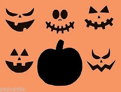 Stencil Halloween Pumpkin with 5 Faces Jack O Lantern for Pillows Signs Borders - Pumpkin Faces For Halloween