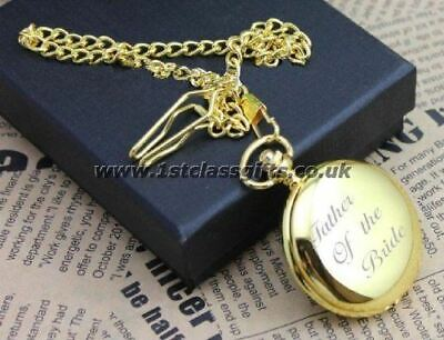 PERSONALISED GOLD POCKET WATCH FATHER OF THE BRIDE LOGO PWG9