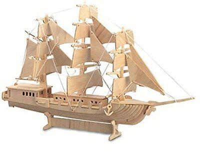 Sailing Ship: Woodcraft Quay Construction Wooden 3D Model Kit P049 Age 9 plus