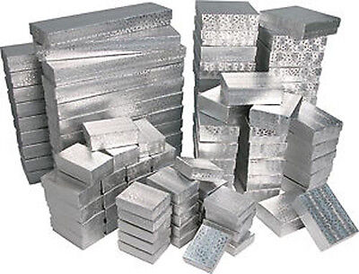 100 ASSORTED SILVER COTTON FILLED JEWELRY GIFT BOXES