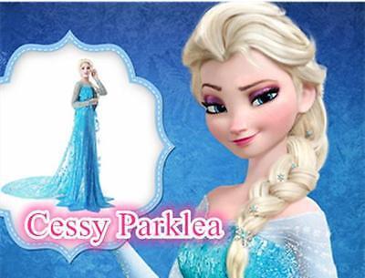 Deluxe Frozen Princess Elsa Snow Queen W/ Extra Long Cape Fancy Dress  Costume](Snow Queen Cape)