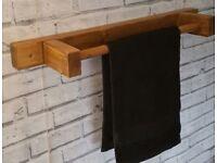 Chunky Solid Wooden Handmade Towel Rail - 100% Solid Wood Oak Beeswax Finish