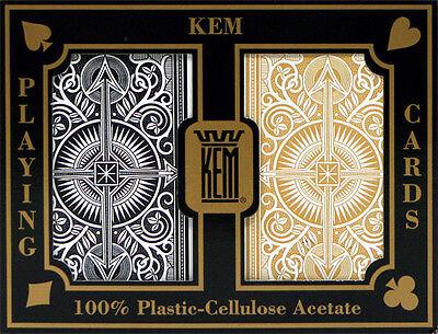KEM Black Gold Bridge Regular Index Playing Cards 100% Plastic Casino - Black Gold Casino