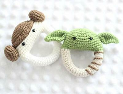 Handmade Star Wars Baby Yoda Plush and Princess Leia Rattle Cotton Yarn Doll Toy