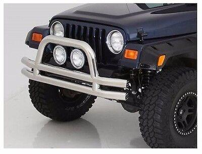 Front Bumper Tube Bar - Smittybilt Stainless Tubular Front Bumper w/ Hoop 76-06 Jeep Wrangler JB44-FS