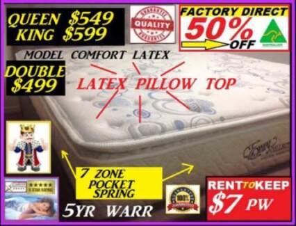 King Mattress, Queen, Double Latex Plush Pillow Top