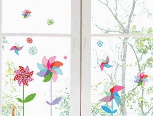 Fenstersticker Windmühle Windrad Fensterbilder Kinder Fensterfolie Fensterbild