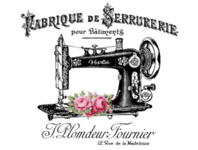 Vintage Image French Sewing Machine Furniture Transfers Decoupage Decal MIS661