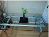 Large Glass Extendable Dining Table - seats 6