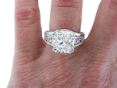 4.67 carat total, 4 ct Cushion cut Diamond GIA K SI1 14k white Gold Ring
