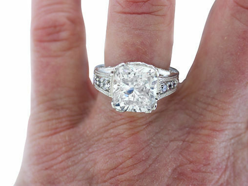 3.67 carat total, 3 ct Cushion cut Diamond GIA certified K SI2 Platinum Ring