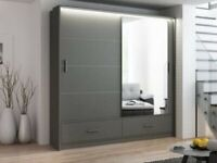 🔴AMAZING OFFER🔵-MARSYLIA WARDROBE IN BLACK WHITE AND GREY COLOR OPTIONS WITH LOT OF HANGING SPACE