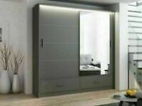 🩸AMAZING OFFER🩸MARSYLIA 2&3 SLIDING DOORS MIRROR WARDROBE IN 208 &255 CM SIZE-CALL NOW