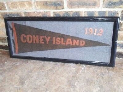 Framed 1912 Coney Island Amusement Park Travel Pennant