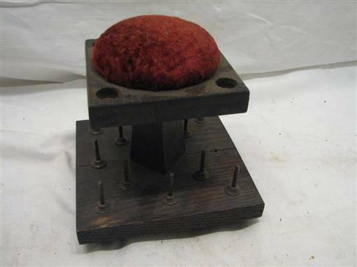 Antique Sewing Notions Thread Wooden Spool Holder Pin Cushion Stand