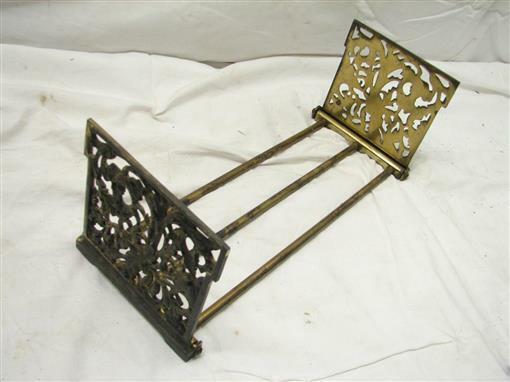Brass Finish Cast Iron Art Nouveau Book Rack Ornate Sliding Holder Devil Flower