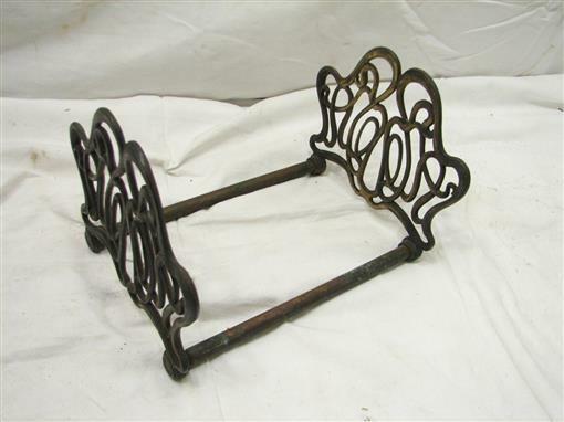 Antique Brass Finish Cast Iron Art Nouveau Book Rack Ornate Sliding Holder Ends