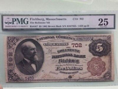 1882 $5 Brown Back, PMG Very Fine 25, Fitchburg Massachusetts, Only 3 on Census