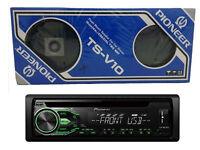 Pioneer IC CD TUNER DEH-1800UBG Green & White Display + Vintage Pioneer TS-V10 Speakers. Both BNIB