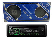 Pioneer IC CD TUNER DEH-1800UBG Green & White Display + Vintage Pioneer TS-V10 Speakers. Both BNIB