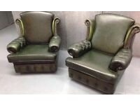 FIRESIDE QUEEN ANNE CHESTERFIELD ANTIQUE VINTAGE GREEN LEATHER WINGBACK armchairs