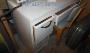 white, painted, wood desk,  also for sale, knight fire place set
