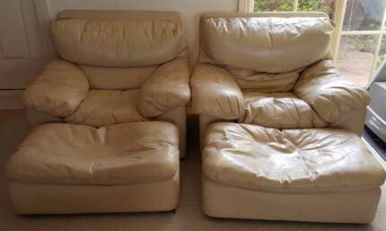 2 Moran leather armchairs and matching Ottomans Nicholls Gungahlin Area Preview