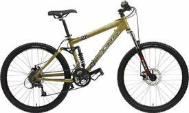 "Kona Kikapu 26"" full suspension mountain bike. Frame size - 18"" gold,"
