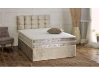 BRAND NEW - SALE NOW ON - LUXURY DIVAN BED IN CRUSH VELVET FINISH - BIG COMFY MATT - DELIVERED FAST