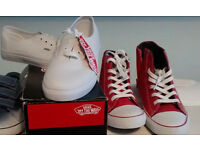White Vans shoes red Next baseball boots/hitops - size 3