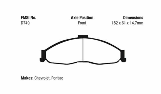 EBC Yellowstuff 4000 Brake Pad Set Front for Chevrolet Camaro / Pontiac Firebird