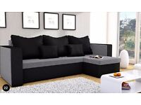 NEW CORNER SOFA BED MOJITO GREY AND BLACK UNIVERSAL RIGHT HAND SIDE AND LEFT
