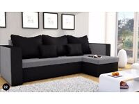 Brand New Corner Sofa Bed MOJITO BLACK AND GREY Storage FABRIC