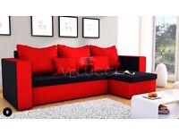 BRAND NEW CORNER SOFA BED MOJITO BLACK AND RED UNIVERSAL WITH STORAGE 3 PILLOWS