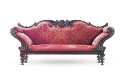 c.1890 Antique Portuguese Rosewood Upholstered Settee Sofa