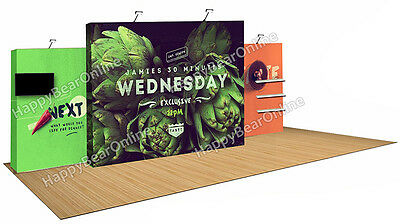 Trade Show Fabric Tension Quick Pop-up Booth 20 Ft Tv Monitor Shelves Z-02
