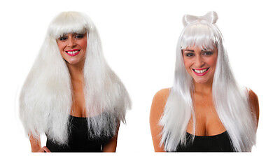 White Wig With Bow Added Volume Lady womens Halloween Fancy Dress Choose Style
