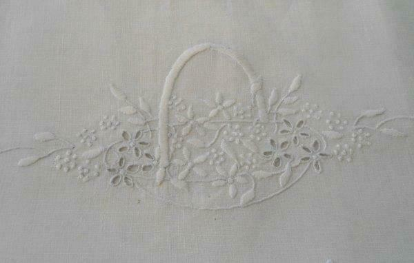 Antique Victorian Linen Nighty Case Boudoir Pillowcase Embroidered Bridal Basket