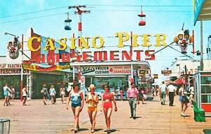 Seaside Heights NJ Midway Entrance Casino Pier Boardwalk Postcard Print
