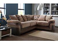 Brown left hand corner sofa