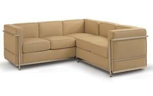 LC2 L-Shape Corner Sofa - Full Italian Genuine Leather - Office Sofa - Clearance