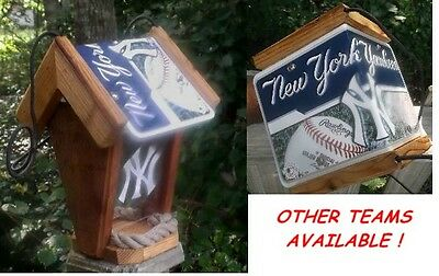 "NEW YORK YANKEES  CEDAR BIRD FEEDER ""Show Your Team Spirit !"" by Sporty Crafts"