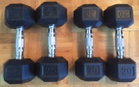 Rubber Coated Hex Dumbbell 20-25lb